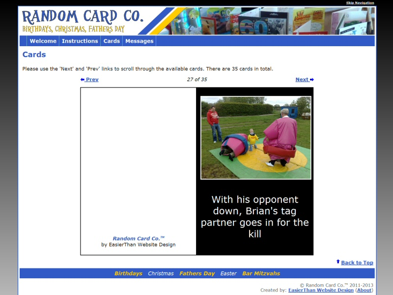 Novelty website for 60th birthday featuring mock-up cards using family photos