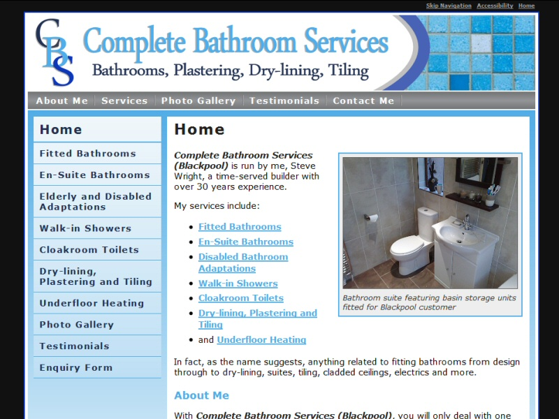 Showcase website created for Complete Bathroom Services of Blackpool