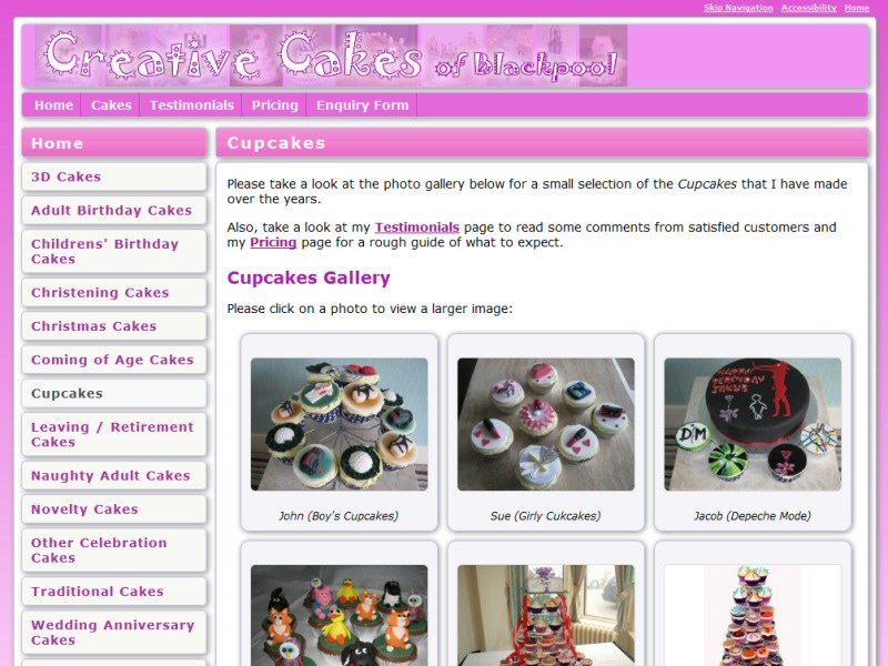 Creative Cakes of Blackpool Website, © EasierThan Website Design