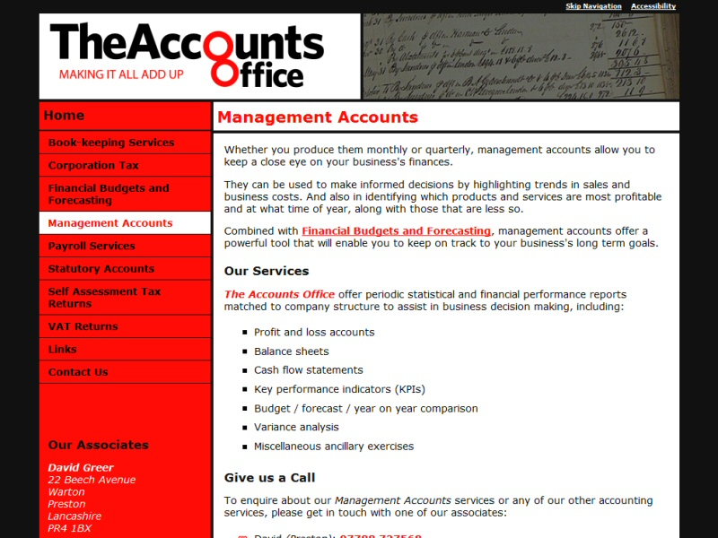The Accounts Office Website, © EasierThan Website Design