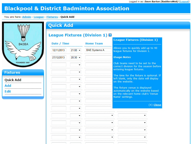 Blackpool & District Badminton Association (CMS) Website, © EasierThan Website Design