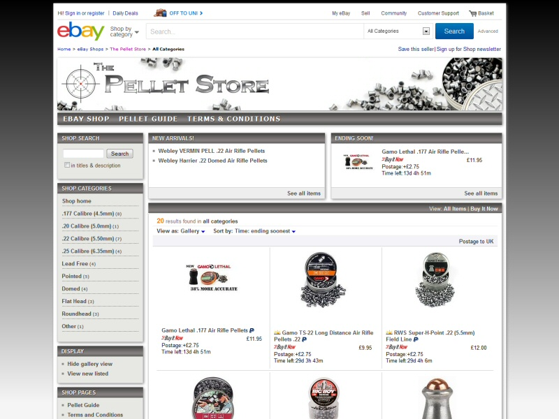 The Pellet Store (eBay Shop) Website, © EasierThan Website Design