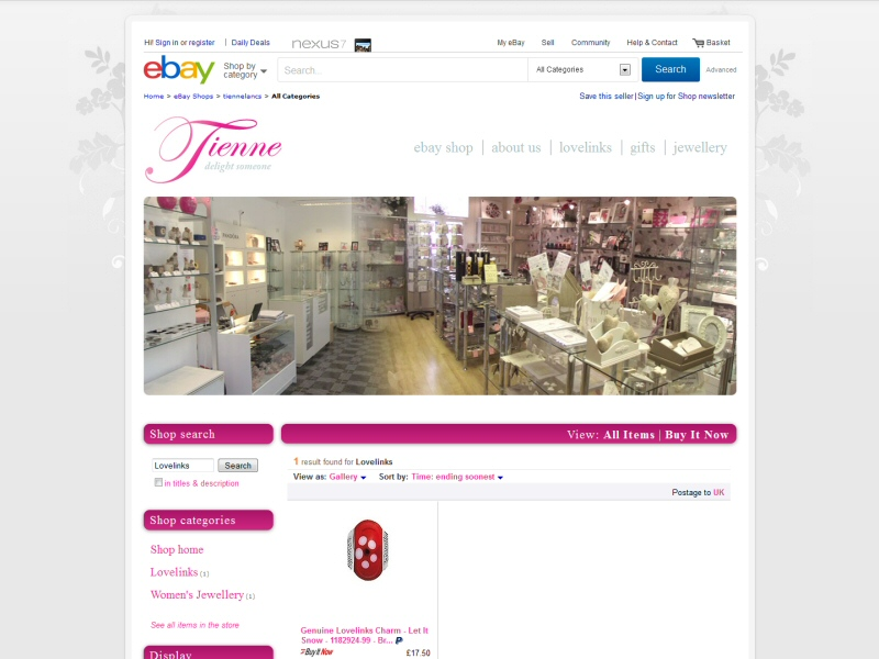 eBay shop design for a Southport based gifts and jewellery retailer