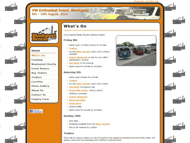 Website designed for Blackpool Breeze, an annual family friendly VW enthusiasts event