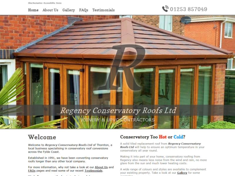 Regency Conservatory Roofs Ltd Website, © EasierThan Website Design