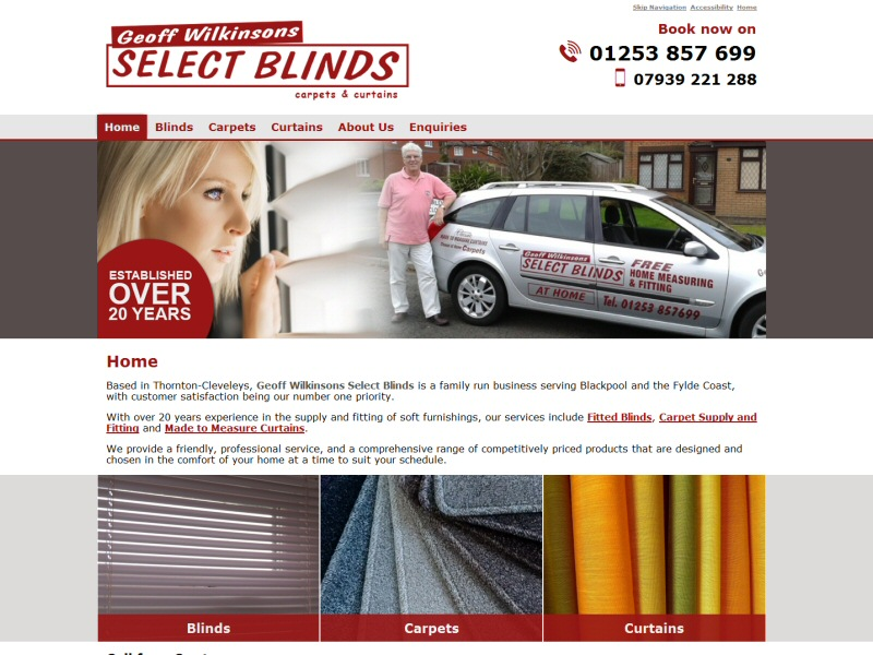 Geoff Wilkinsons Select Blinds Website, © EasierThan Website Design