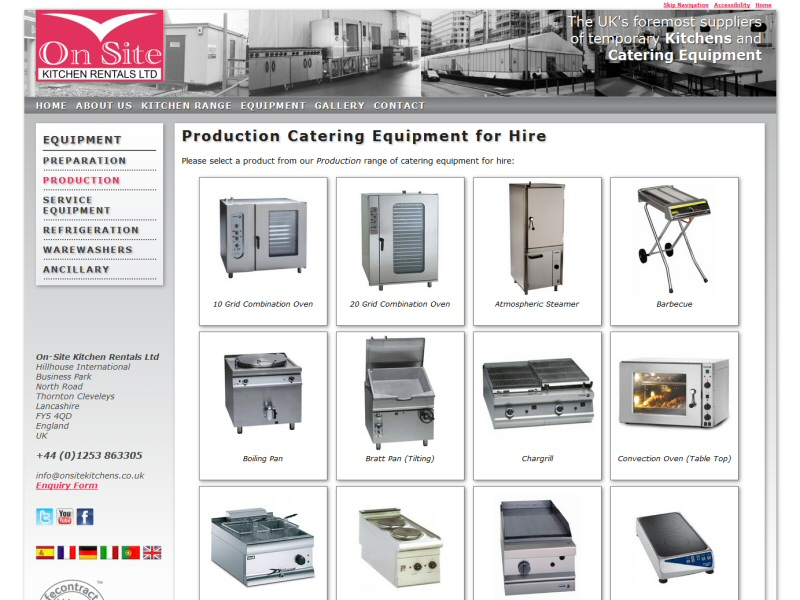 On-line product catalogue for a Lancashire based company that hires out catering equipment