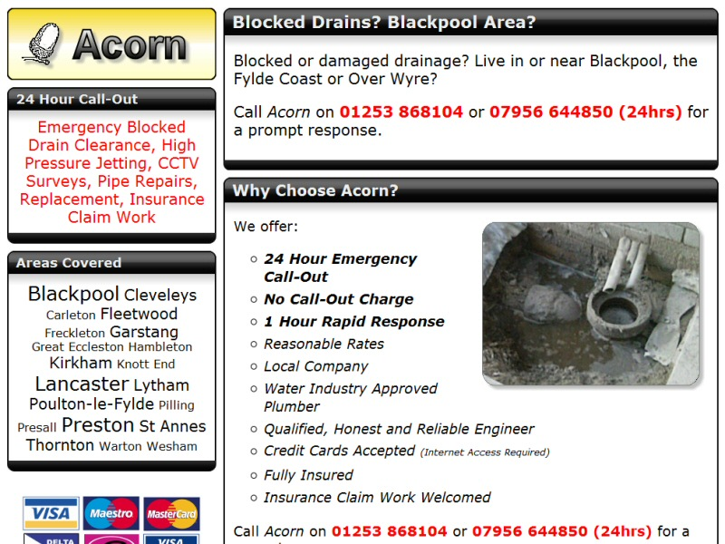 Blocked Drains Blackpool Website, © EasierThan Website Design