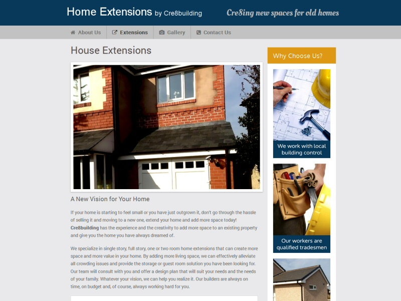 Home Extensions by Cre8building Website, © EasierThan Website Design