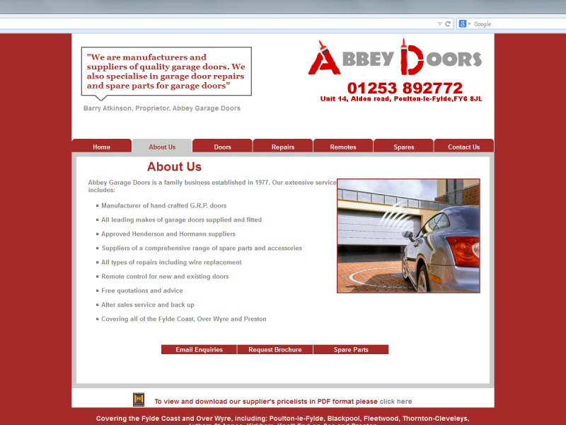 Abbey Garage Doors Website, © EasierThan Website Design