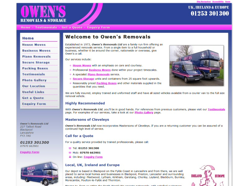 Owen's Removals Website, © EasierThan Website Design