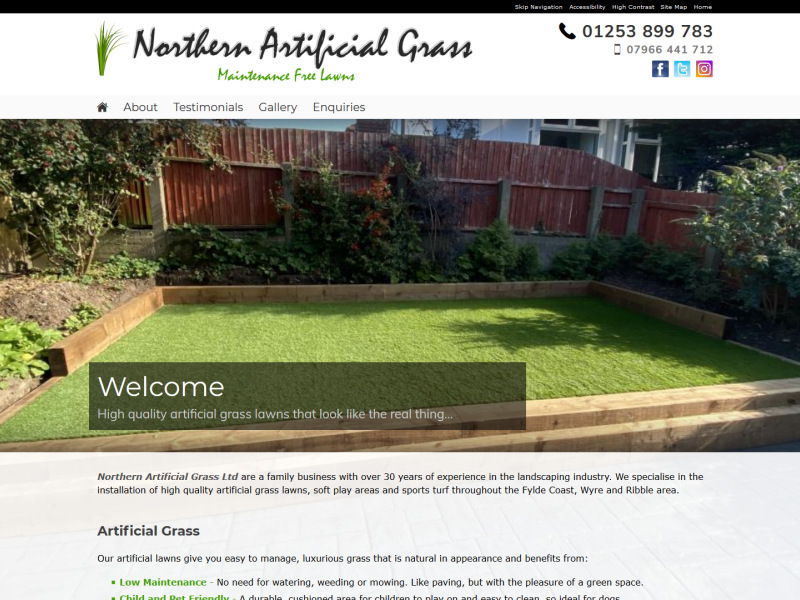 Northern Artificial Grass Website, © EasierThan Website Design