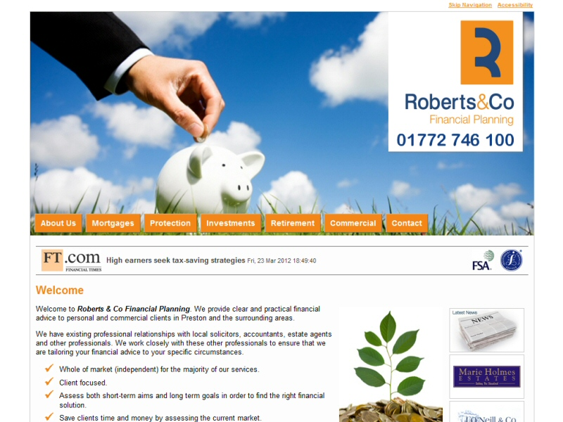 Roberts & Co Financial Planning Website, © EasierThan Website Design