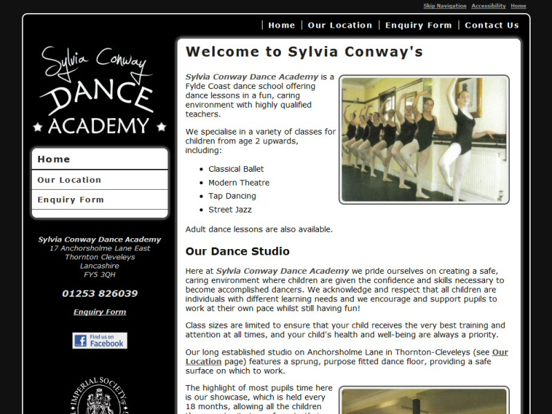 Sylvia Conway Dance Academy Website, © EasierThan Website Design