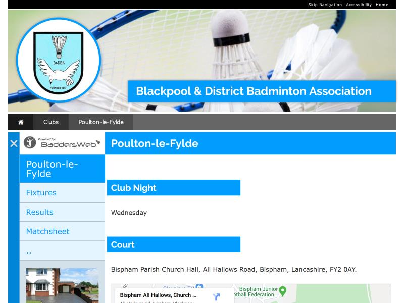 Blackpool & District Badminton Association Website, © EasierThan Website Design