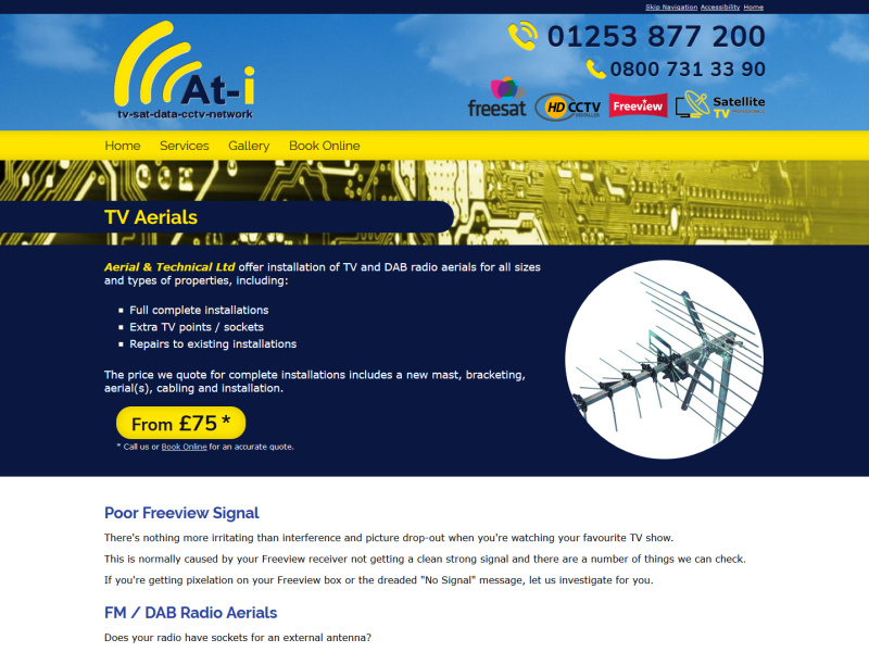Aerial & Technical Ltd Website, © EasierThan Website Design