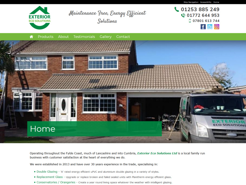 Exterior Eco Solutions Ltd Website, © EasierThan Website Design