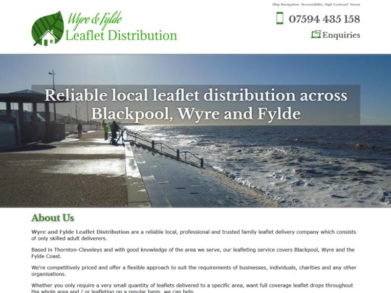 Wyre and Fylde Leaflet Distribution Website, © EasierThan Website Design