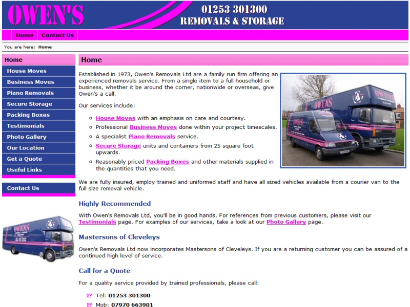 Website developed for Owen's Removals of Blackpool