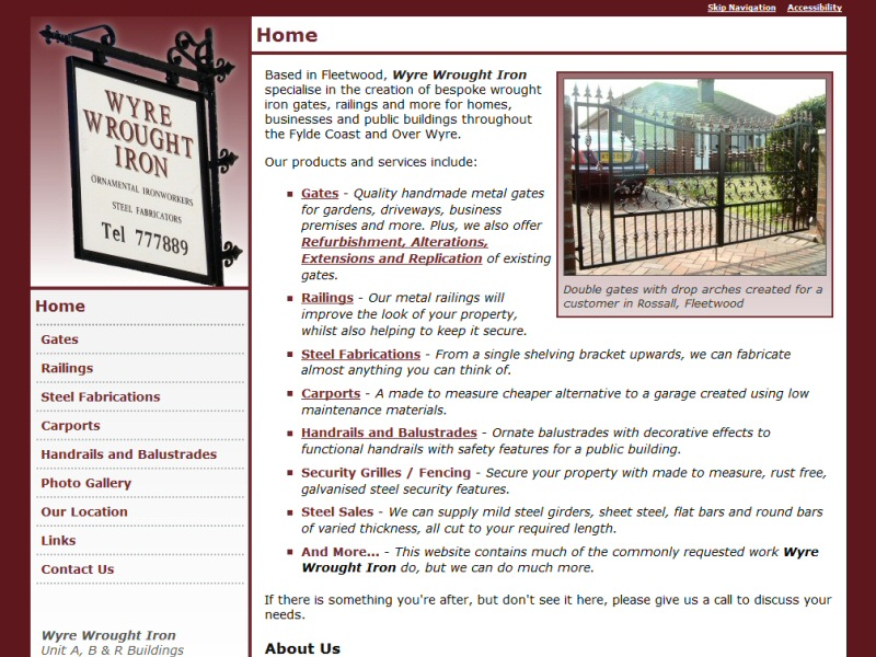 Wyre Wrought Iron Website, © EasierThan Website Design