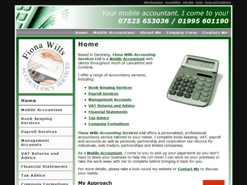 Fiona Wills Accounting Services Ltd Website, © EasierThan Website Design