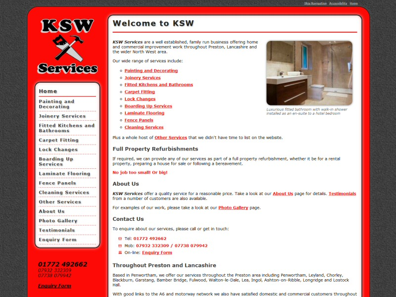 KSW Services Website, © EasierThan Website Design