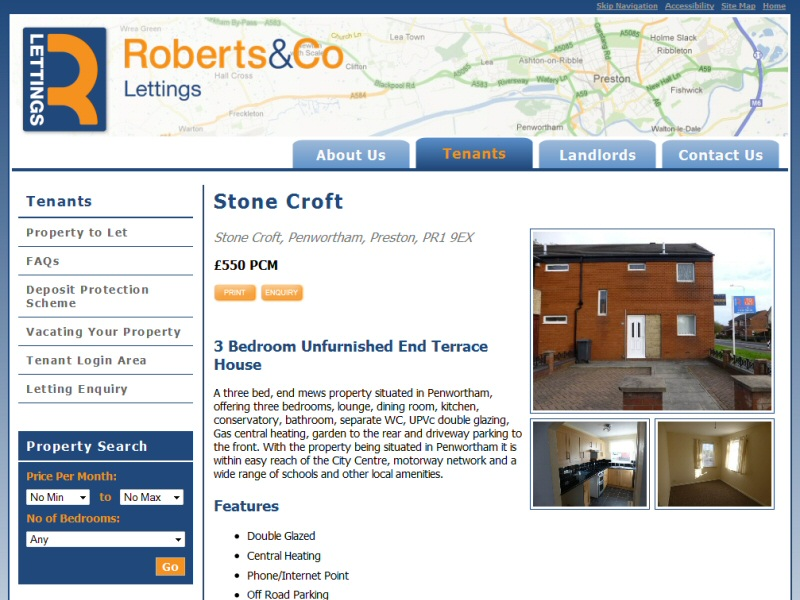 Website designed for a regional lettings agency in the Penwortham area of Preston