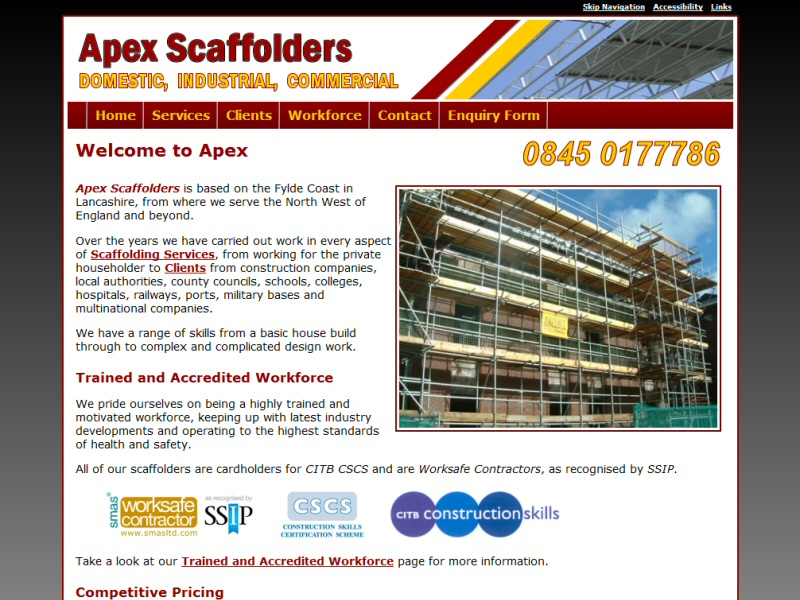 Website created for a large scaffolding company based close to Blackpool, Lancashire